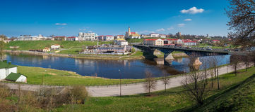 Центр города реки Grodno и Neman Город Grodno, Беларусь стоковые фотографии rf