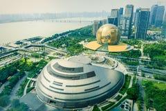 Центр города Ханчжоу Qianjiang новый, обозревая ¼ Œin Китай landscapeï стоковые фотографии rf