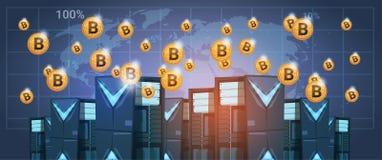 Центр данных фермы минирования Bitcoin над деньгами сети секретной валюты цифров карты мира современными иллюстрация штока