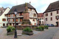 Центр деревни Obernai, Эльзаса, Франции Стоковое Изображение