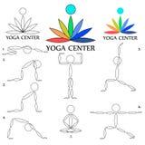 Центр йоги Значки с логотипом и представления для центра йоги стоковое изображение