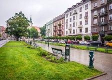 Центр Кракова - Польши исторический стоковое изображение