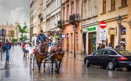 Центр Кракова - Польши исторический стоковая фотография