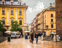 Центр Кракова - Польши исторический стоковые изображения rf