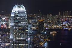 Центр международных финансов Гонконга на ноче Стоковые Фото