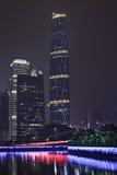 Центр на ноче, Китай международных финансов Гуанчжоу Стоковое фото RF