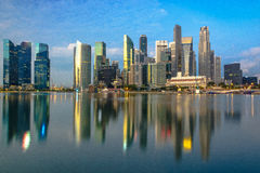 Центр Сингапура на заливе Марины Стоковое Изображение RF