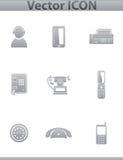 Центр телефонного обслуживания вектора. иконы квадратного серого цвета установленные Стоковое фото RF