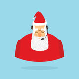 Центр телефонного обслуживания рождества Санта Клаус и шлемофон Санта отвечает t Стоковое фото RF