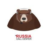 Центр телефонного обслуживания России Медведь отвечает к телефонным звонкам Дикое животное Стоковая Фотография RF