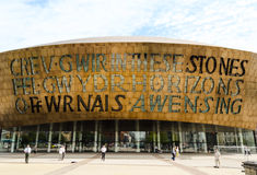 Центр тысячелетия Уэльса на заливе Кардиффа - Уэльсе, Великобритании Стоковые Изображения