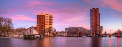 Центр Groningen на заходе солнца Стоковые Изображения RF