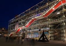 Центр Pompidou, Париж, на ноче Стоковое Фото