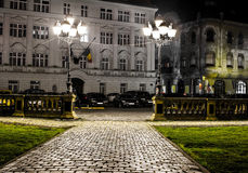 Центр Timisoara на ноче Стоковое фото RF