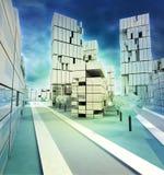 Центр Wintertime вышел иллюстрация города с пасмурным небом Стоковые Изображения