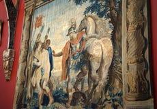 Центурион и лошадь войны проиллюстрированная в сплетенном гобелене стоковое фото