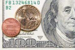 цент счета чеканит доллар 100 одно Стоковое Фото