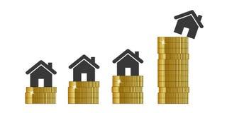 Цены недвижимости поднимают в высоту иллюстрация штока