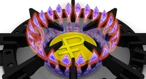 Цены поставки газа Концепция с русской валютой Стоковое фото RF