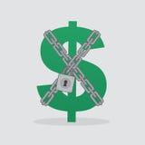 Цепи замка знака доллара Стоковое Изображение