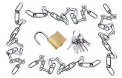 цепи пользуются ключом padlocks Стоковое Изображение