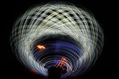 Цепи световых маяков на ноче Стоковое фото RF