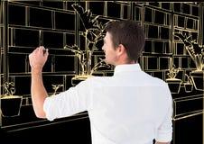 цепи световых маяков офиса чертежа человека в темной предпосылке Стоковая Фотография RF
