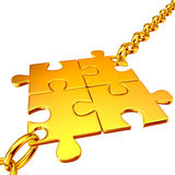 цепи собрали головоломки золота Стоковые Фото