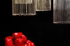 Цепи с колоколами в форме шариков выделены и висят над овощами на черной предпосылке стоковое изображение rf