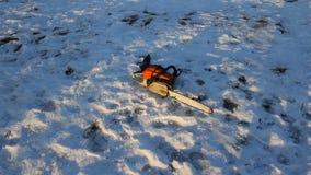 Цепная пила лежа в снеге около спиленного спруса видеоматериал