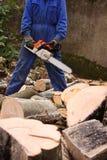 Цепная пила и некоторая древесина Стоковая Фотография