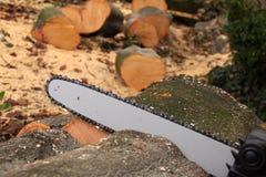 Цепная пила и некоторая древесина стоковые фото
