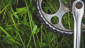 Цепное колесо велосипеда на траве Стоковые Изображения RF