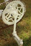 Цепное колесо велосипедов припаркованных на парке Стоковое фото RF