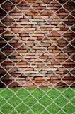 цепное соединение grunge загородки видит стену Стоковая Фотография
