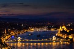 Цепной мост, Будапешт-Венгрия Стоковые Фотографии RF