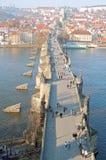 Цепной мост и замок в Будапеште Стоковое фото RF