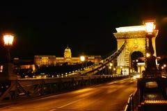 Цепной мост и замок Buda Стоковое Фото