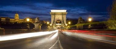 Цепной мост на ноче Стоковое фото RF