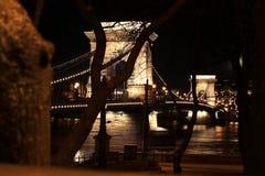 Цепной мост (lánchid Széchenyi) Стоковое Изображение