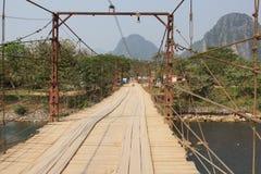 Цепной мост, Vang Vieng, Лаос, Азия Стоковые Изображения