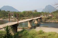 Цепной мост, Vang Vieng, Лаос, Азия Стоковая Фотография RF