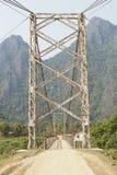 Цепной мост, Vang Vieng, Лаос, Азия Стоковые Фотографии RF