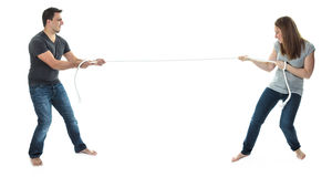 цепные пары конфликта его супруга человека удерживания Стоковое Изображение