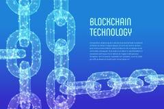 Цепь блока Секретная валюта Концепция Blockchain цепь wireframe 3D с цифровыми блоками Editable шаблон Cryptocurrency шток стоковое изображение rf
