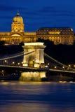 цепь Венгрия замока budapest моста Стоковое Изображение RF
