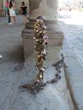 Цепь замка влюбленности в Флоренсе Стоковое фото RF