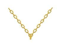 Цепь золота на его ювелирных изделиях шеи Вспомогательный драгоценный желтый металл Стоковые Фотографии RF