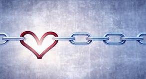 Цепь утюга с красным сердцем как одно связи иллюстрация вектора