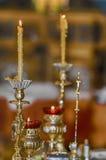 Церемониальные христианские правоверные свечи Стоковое Фото